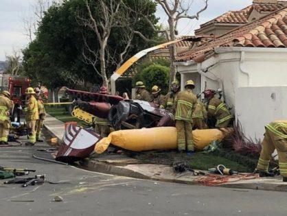 Un helicóptero se estrelló en el patio de una casa en Los Angeles